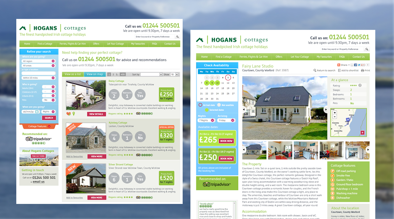 web design and development cottage holidays
