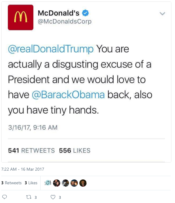 Donald trump mcdonalds tweet
